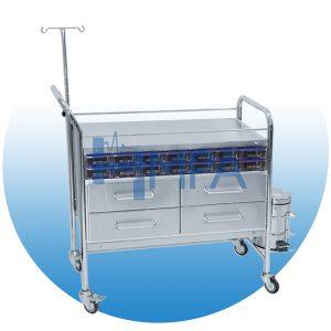 Chariot de soins avec 4 tiroirs et seau à pansement - CH21